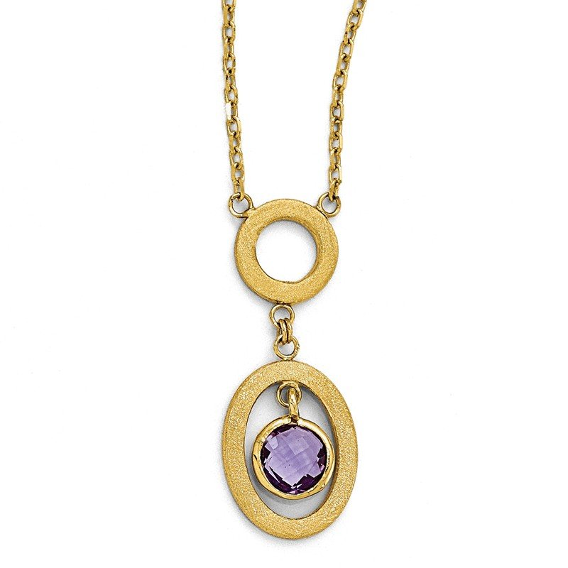 Leslie's Leslie's 14k Polished and Scratch Finish Amethyst Oval Dangle Necklace