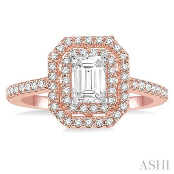 OCTAGON SHAPE DIAMOND ENGAGEMENT RING