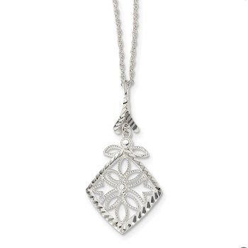 Sterling Silver Textured Diamond Cut Necklace