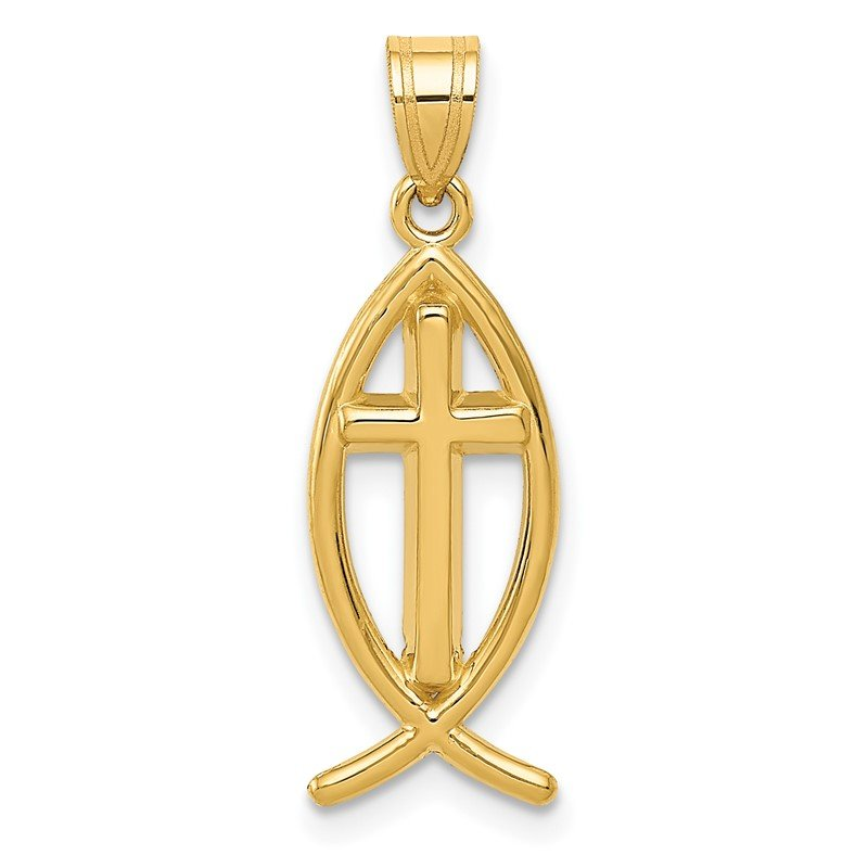 Quality Gold 14k Ichthus Fish Pendant