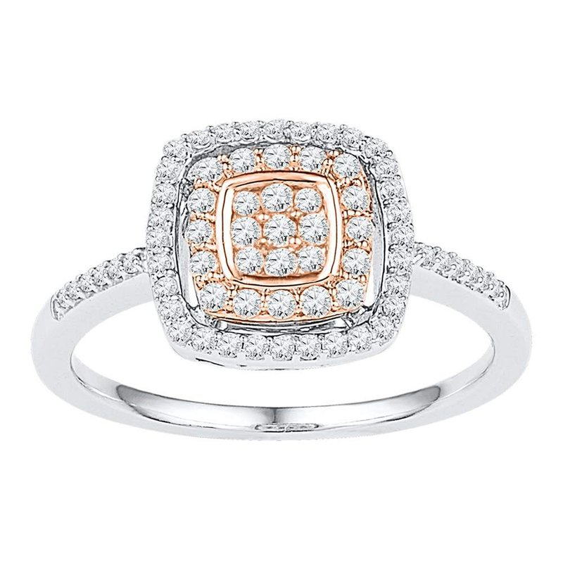Gold-N-Diamonds, Inc. (Atlanta) 10kt White Rose-tone Gold Womens Round Diamond Square Frame Cluster Ring 3/8 Cttw