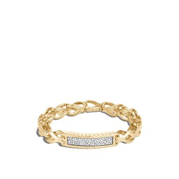 Asli Classic Chain 11MM Link ID Bracelet, 18K Gold, Diamonds