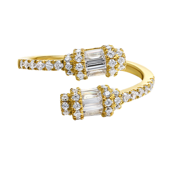 14K open design ring with 60 round diamonds 0.54ct & 5 baguette diamonds 0.46ct