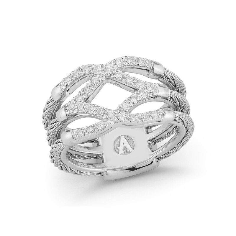 ALOR Grey Cable Lattice Ring with 18kt White Gold & Diamonds