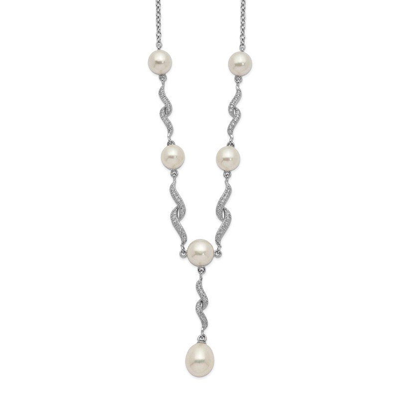 Quality Gold Sterling Silver Rhod-plat 7-9mm White FWC Pearl CZ Necklace