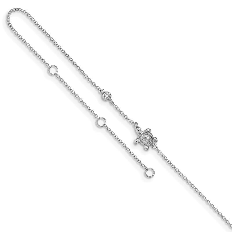 Fine Jewelry by JBD Sterling Silver Rhodium-plated CZ Turtle 9in Plus 2in Ext Anklet