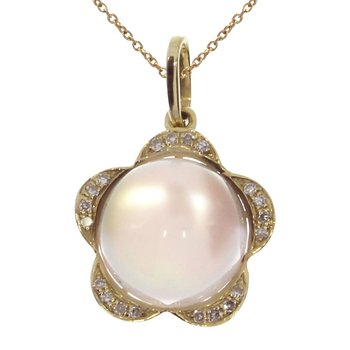 14K Yellow Gold Pink Amethyst Cab Pendant
