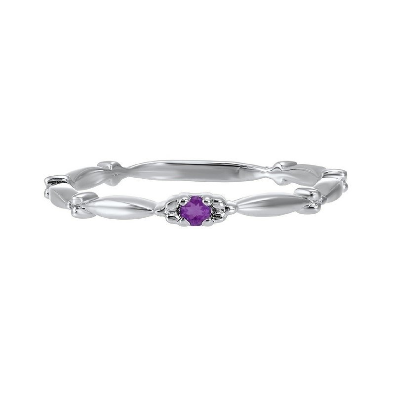 Gems One Amethyst Solitaire Antique Style Slender Stackable Band in 10k White Gold