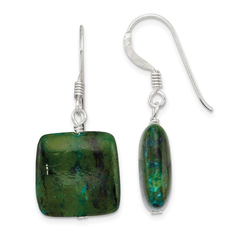 Quality Gold Sterling Silver Chrysocolla Earrings
