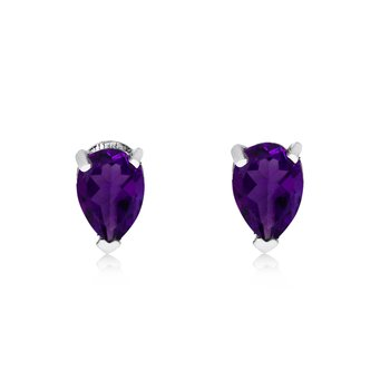 14k White Gold Amethyst Pear-Shaped Earring