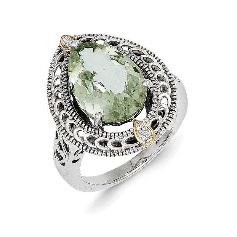 Shey Couture Sterling Silver w/14k Diamond & Green Quartz Ring