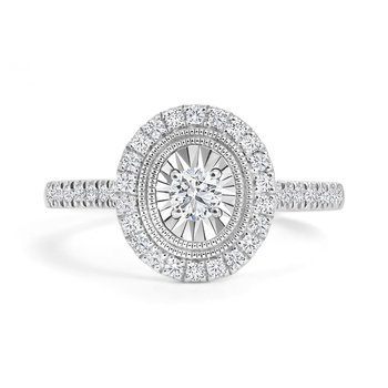 Oval Design Halo Engagement Ring