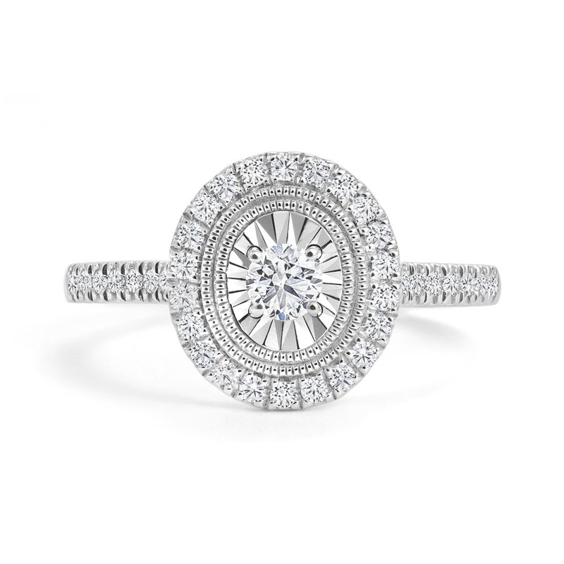 Canadian Rocks Oval Design Halo Engagement Ring