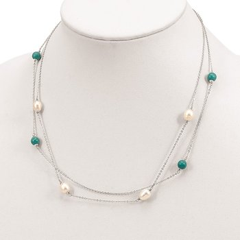 Sterling Silver Turquoise/FWC Pearl w/2 in ext Necklace