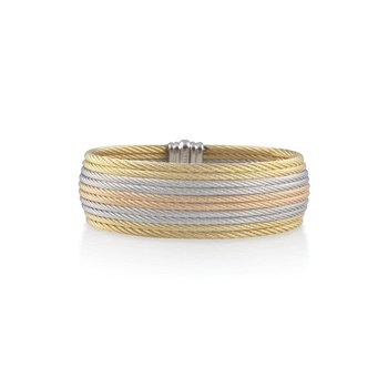 Yellow, Rose, & Grey Cable Medium Cuff with 18kt Yellow Gold