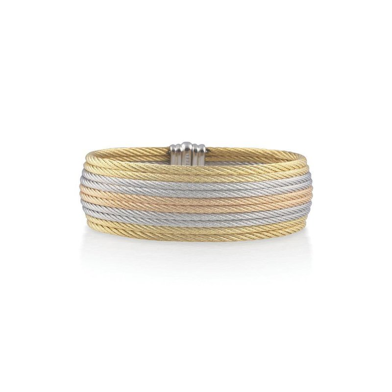 ALOR Yellow, Rose, & Grey Cable Medium Cuff with 18kt Yellow Gold