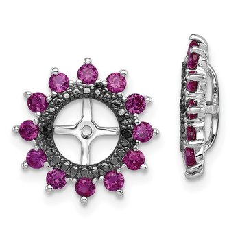 Sterling Silver Rhodium Created Ruby & Black Sapphire Earring Jacket