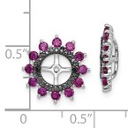 Quality Gold Sterling Silver Rhodium Created Ruby & Black Sapphire Earring Jacket
