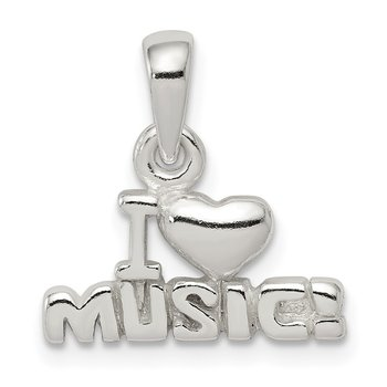 Sterling Silver I Love Music Pendant