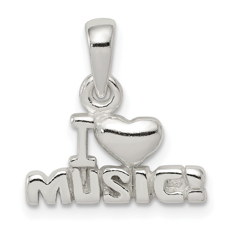 Quality Gold Sterling Silver I Love Music Pendant