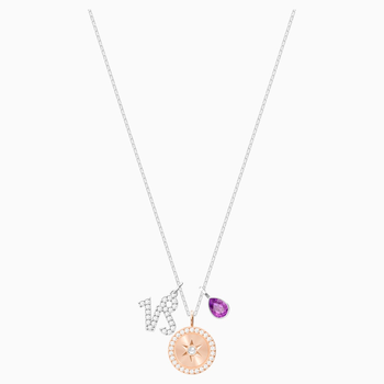 Zodiac Pendant, Capricorn, Purple, Rhodium plated