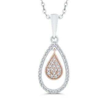 Round Cut Diamond 10K Two-Tone Gold Tear Drop Pendant