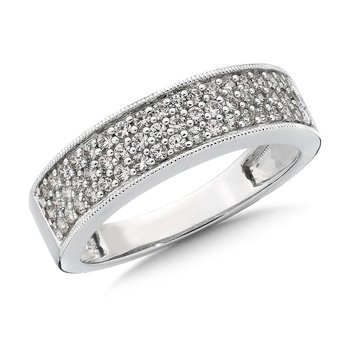 Pave set Diamond Stackable Wedding Ring in 14k White Gold (1/2ct. tw.) HI/I1