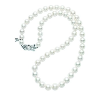 "18"" Akoya Cultured Pearl 9x7mm Graduated Strand - 18 Karat White Gold Clasp"