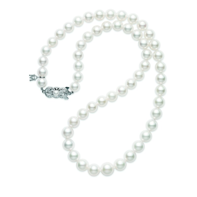 "Mikimoto 18"" Akoya Cultured Pearl 9x7mm Graduated Strand - 18 Karat White Gold Clasp"