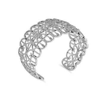925 SS Dia Fashion Cuff Bangle in Heart & Flower Design