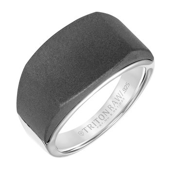 RAW Tungsten/Silver Signet Men's Wedding Band