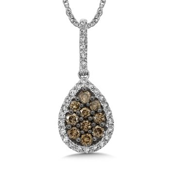 Pave set Cognac and White Diamond Drop Shaped Pendant, 14k White Gold  (1/2ct. dtw.)