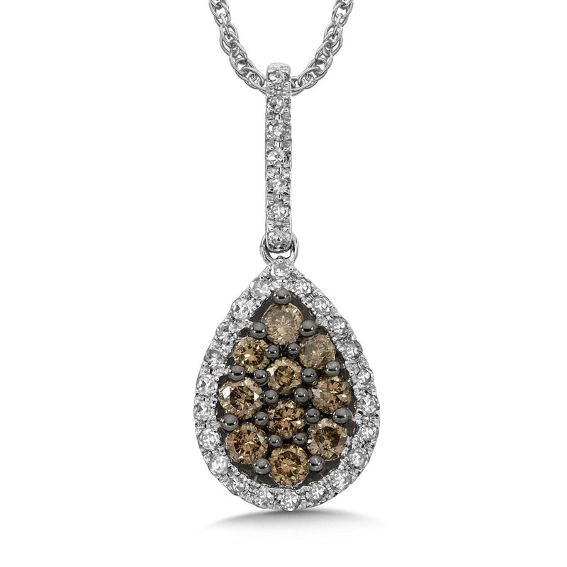 SDC Creations Pave set Cognac and White Diamond Drop Shaped Pendant, 14k White Gold  (1/2ct. dtw.)