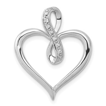 14k White Gold 1/20ct. Diamond Heart and Infinity Pendant