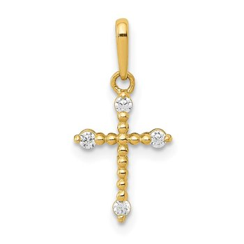14k Polished Beaded CZ Cross Charm