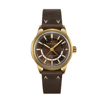Freedom 60 GMT Limited Edition Bronze Case - Brown Dial Ebony Leather Strap