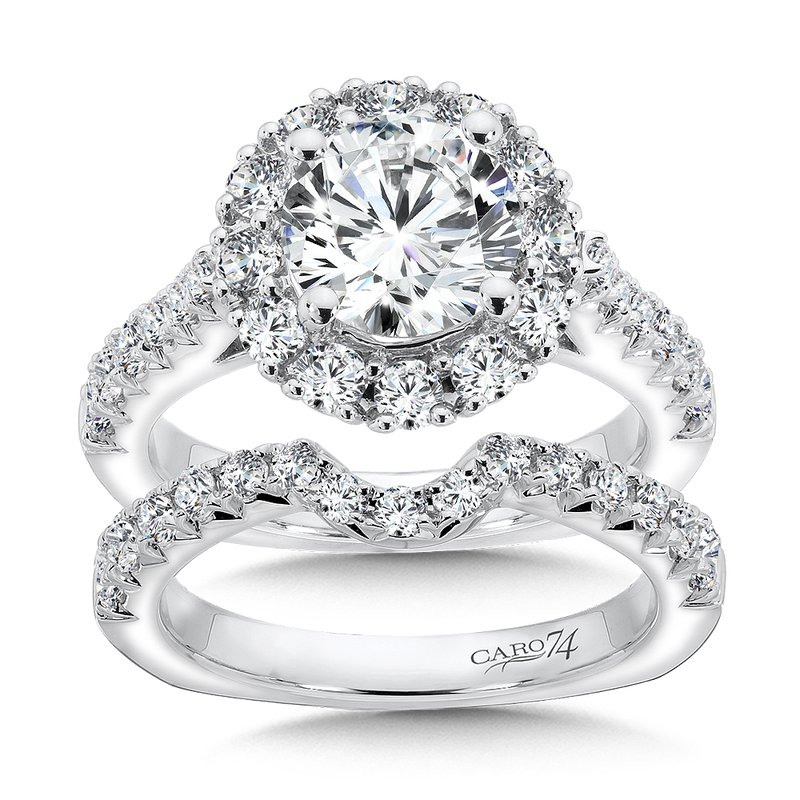 Caro74 Grand Opulance Collection Round Halo Engagement Ring in 14K White Gold (2ct. tw.)