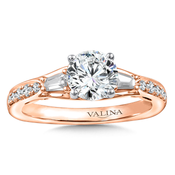 Diamond Engagement Ring Mounting in 14K Rose Gold with Platinum Head (.37 ct. tw.)