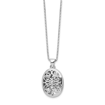 SS White Ice .01ct Diamond Oval Locket Necklace