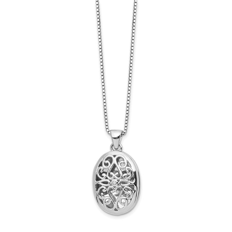Quality Gold SS White Ice .01ct Diamond Oval Locket Necklace