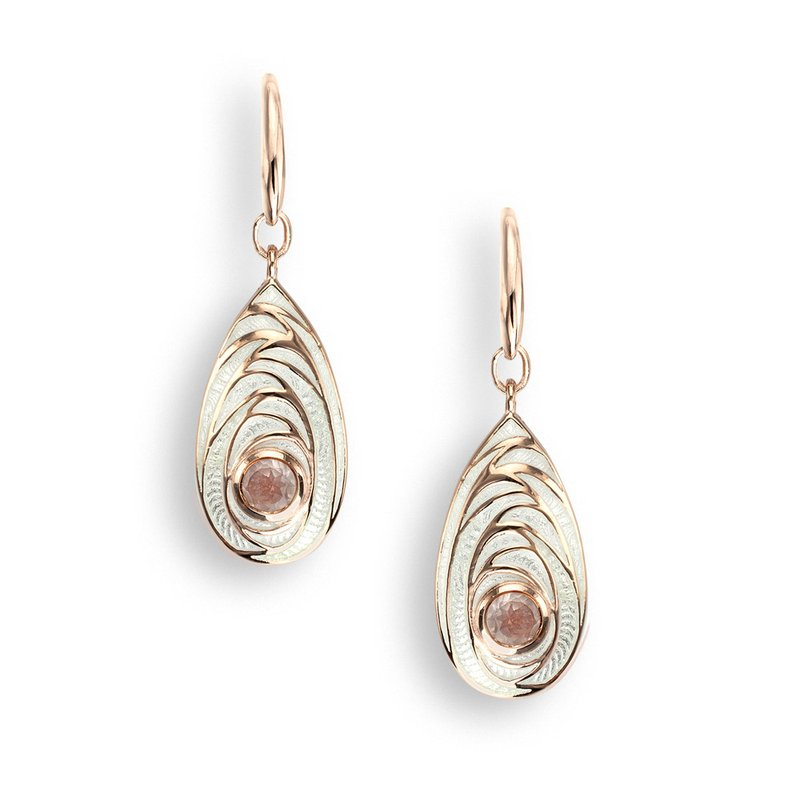 Nicole Barr Designs White Teardrop Wire Earrings.Rose Gold Plated Sterling Silver-Rose Quartz
