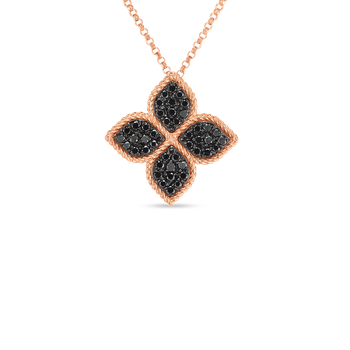 18KT GOLD LARGE FLOWER NECKLACE WITH BLACK DIAMONDS