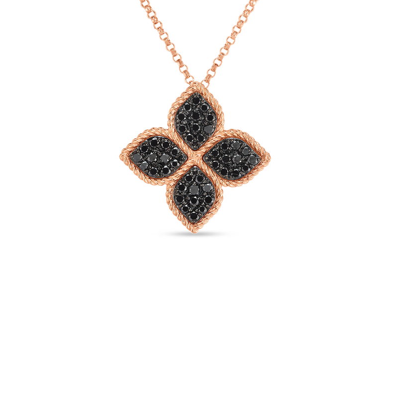 Roberto Coin 18Kt Gold Large Flower Necklace With Black Diamonds
