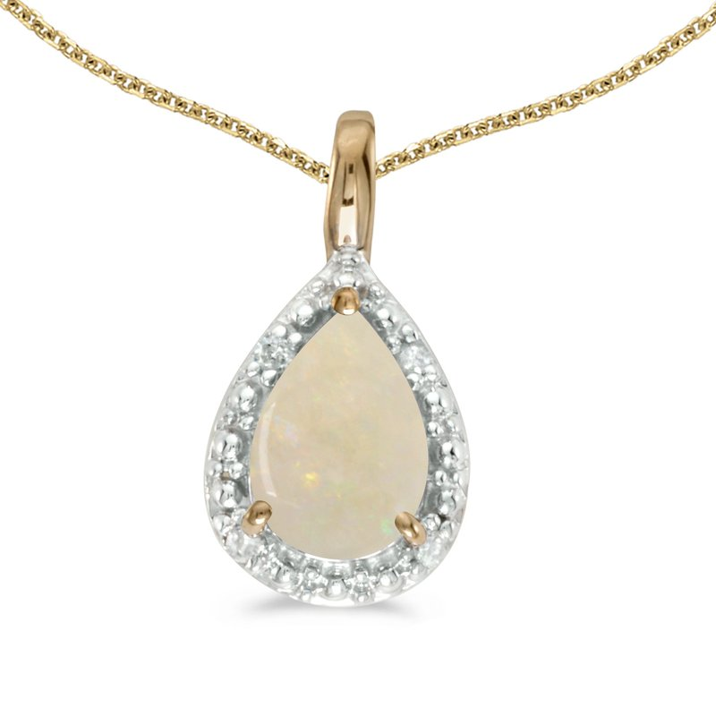 Color Merchants 10k Yellow Gold Pear Opal Pendant
