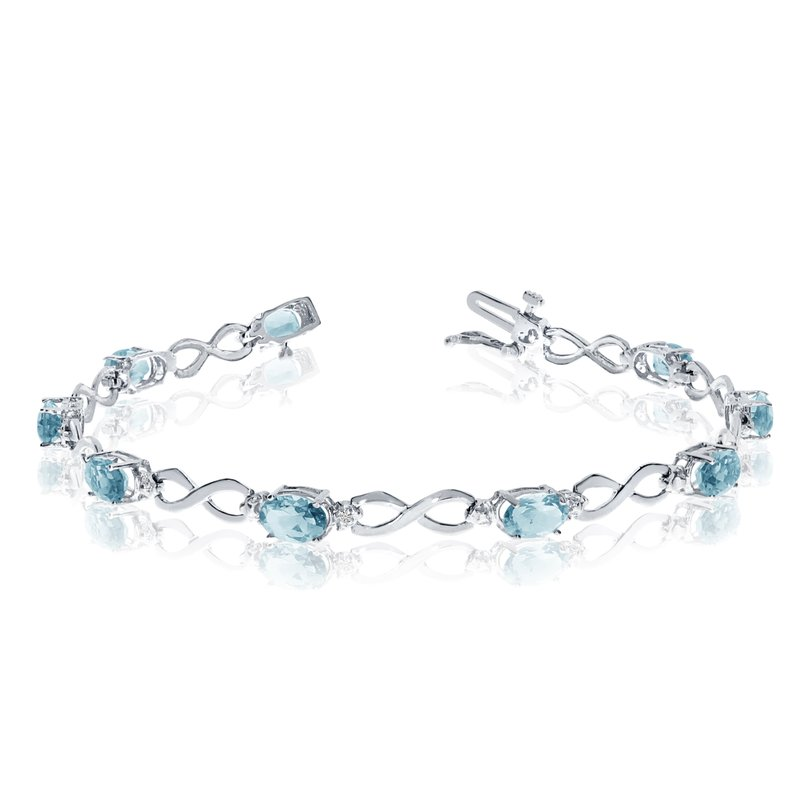 Color Merchants 14K White Gold Oval Aquamarine and Diamond Bracelet