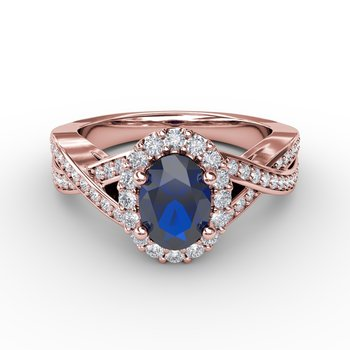 Look of Love Sapphire and Diamond Criss-Cross Ring