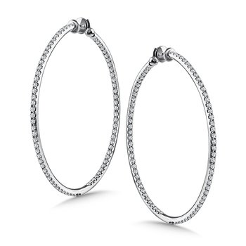 Diamond Reflection Hoops in 14K White Gold with Platinum Post (3.99 ct. tw.)