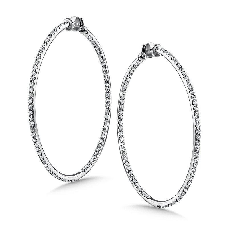 Caro74 Diamond Reflection Hoops in 14K White Gold with Platinum Post (3.99 ct. tw.)