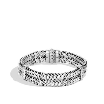 Classic Chain 14MM Double Row Bracelet in Silver