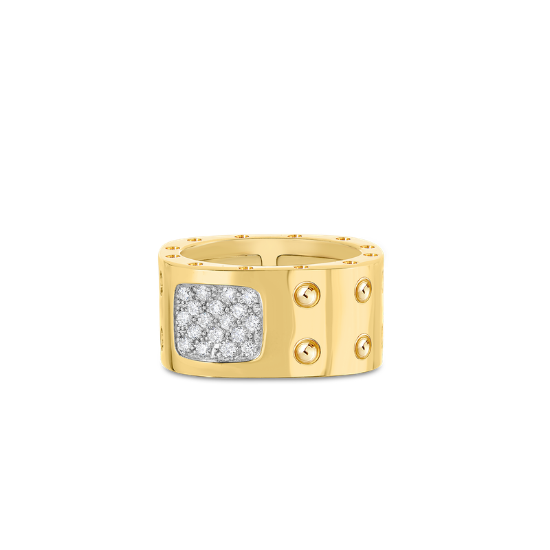 Roberto Coin 2 Row Square Ring With Diamonds &Ndash; 18K Yellow Gold, 7